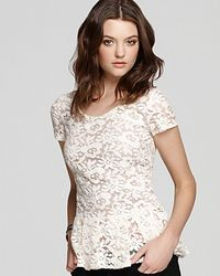 Madison Marcus Top Lace Peplum - Lyst