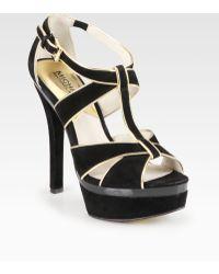 MICHAEL Michael Kors Gideon Suede Metallic Leather Tstrap Sandals - Lyst