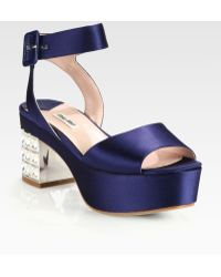 Miu Miu Satin Jeweled Heel Platform Sandals - Lyst