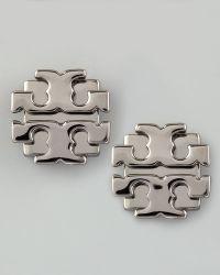 Tory Burch Large T-Logo Stud Earrings silver - Lyst