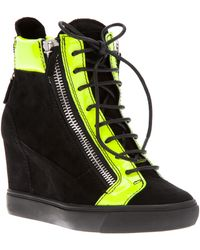 Giuseppe Zanotti Paneled Wedge Hi-Top Sneakers - Lyst