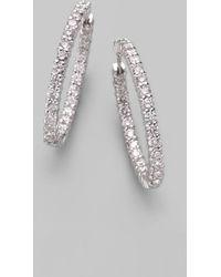 Roberto Coin Diamond 18k White Gold Hoop Earrings1frac14 - Lyst