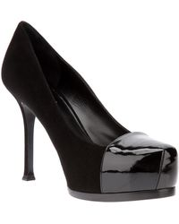 Saint Laurent Tribtoo Leather and Patent Pump - Lyst
