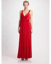 Aidan Mattox Cowlneck Jersey Gown - Lyst