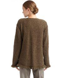 Armani Fringed Boucl233 Knit Cape Jacket - Lyst