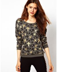 ASOS Collection Asos Sweatshirt with Metallic Crosses - Lyst