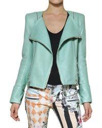 Balmain Nappa Leather Biker Jacket green - Lyst