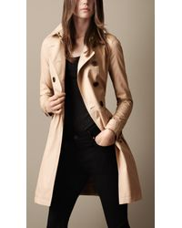Burberry Brit - Mid Length Cotton Poplin Gathered Skirt Trench Coat - Lyst
