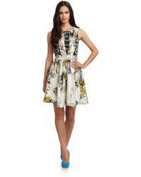 Cynthia Rowley Silk Satin Abstract Floral Dress - Lyst