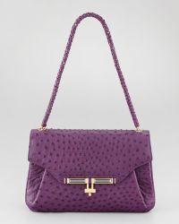 Kara Ross - Urbana Ostrich Satchel Bag African Violet - Lyst