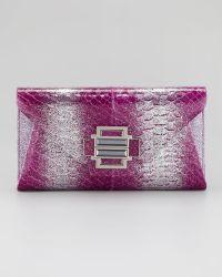 Kara Ross - Electra Ombre Glitter Python Clutch Bag Magenta - Lyst