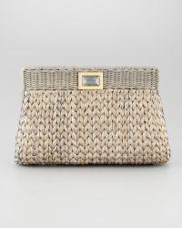Kara Ross - Amo Large Woven Clutch Bag Paloma Gray - Lyst