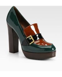 Marni Bicolor Patent Leather Loafer Pumps - Lyst