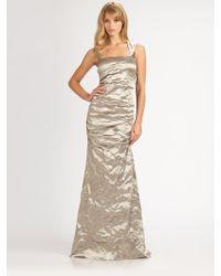 Nicole Miller Metallic Gown - Lyst
