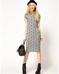 River Island Grey Crosses Print Column Dress - Lyst