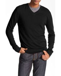 Theory V-Neck Cotton & Cashmere Sweater black - Lyst