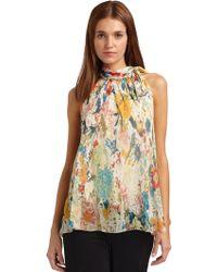 Vivienne Tam - Silk Chiffon Floral Halter Top - Lyst