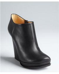 Lanvin Black Leather Side Zip Platform Ankle Boots - Lyst