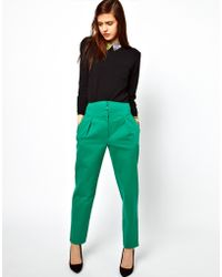 ASOS Collection Asos Trousers with High Waisted Zip Front green - Lyst