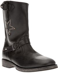 HTC Hollywood Trading Company - Studded Calf-Leather Biker Boots - Lyst