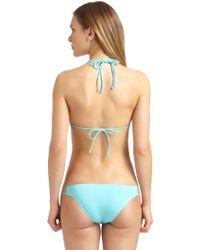 Just Cavalli Gold Hardware Triangle Bikini Top - Lyst