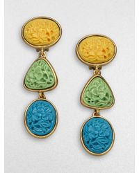 Oscar de la Renta Tritone Floral Medallion Earrings multicolor - Lyst