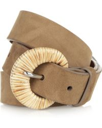 Ralph Lauren Collection - Rattantrimmed Suede Belt - Lyst