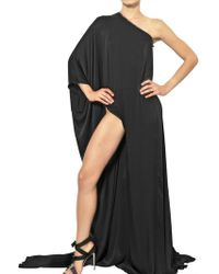 Anthony Vaccarello Draped Techno Satin Long Dress - Lyst