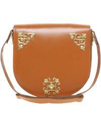 Asos Leather Ornate Saddle Bag - Lyst