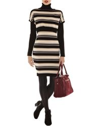 Karen Millen Blanket Stripe Merino Knit Dress - Lyst