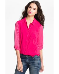 Splendid Mixed Media Shirt - Lyst