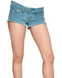 True Religion - Stretch Denim Joey Mini Shorts - Lyst