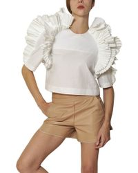 Chloé Pleated Ruffle Cotton Poplin Top white - Lyst