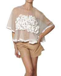 Chloé Silk Crochet Flower On Silk Organza Top - Lyst