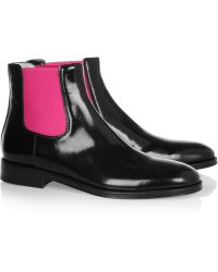 Christopher Kane Fluoro Polished Leather Chelsea Boots black - Lyst