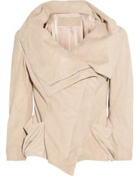 Donna Karan New York Metallic Suede Jacket - Lyst