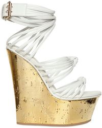 Emilio Pucci Mirrored Cork and Calfskin Wedges - Lyst