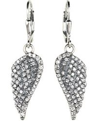 King Baby Studio Small Cz Pavé Wing Leverback Earrings - Lyst