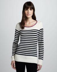 Madison Marcus Jewelneck Striped Sweater - Lyst