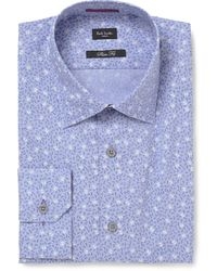 Paul Smith Blue Printed Cotton Shirt - Lyst