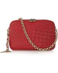 Versace Vanitas Embroidered Leather Shoulder Bag - Lyst