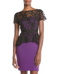 Donna Morgan Lace Peplum Dress - Lyst