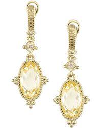 Judith Ripka - Arielle Oval Canary Earrings - Lyst