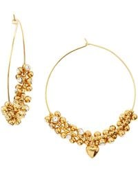 Juicy Couture Cz Beaded Hoop Earrings - Lyst