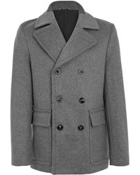 Maison Martin Margiela Grey Wool Pea Coat - Lyst