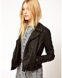 River Island Leather Look Stud Biker Jacket - Lyst