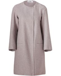 Jil Sander Grey Heather Cashmere Coat - Lyst