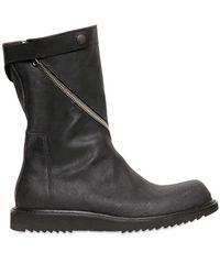 Rick Owens Twisted Zip Crust Leather Boots - Lyst