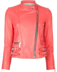 Barbara Bui Cropped Leather Jacket - Lyst