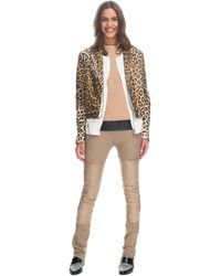 3.1 Phillip Lim Leopard Foiled Lamb Tromp L'oeil Layered Biker Jacket - Lyst